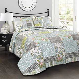 Lush Decor Blue Roesser Quilt | Patchwork Floral Reversible Print Pattern Country Farmhouse Style 3 Piece Bedding Set-Full Queen