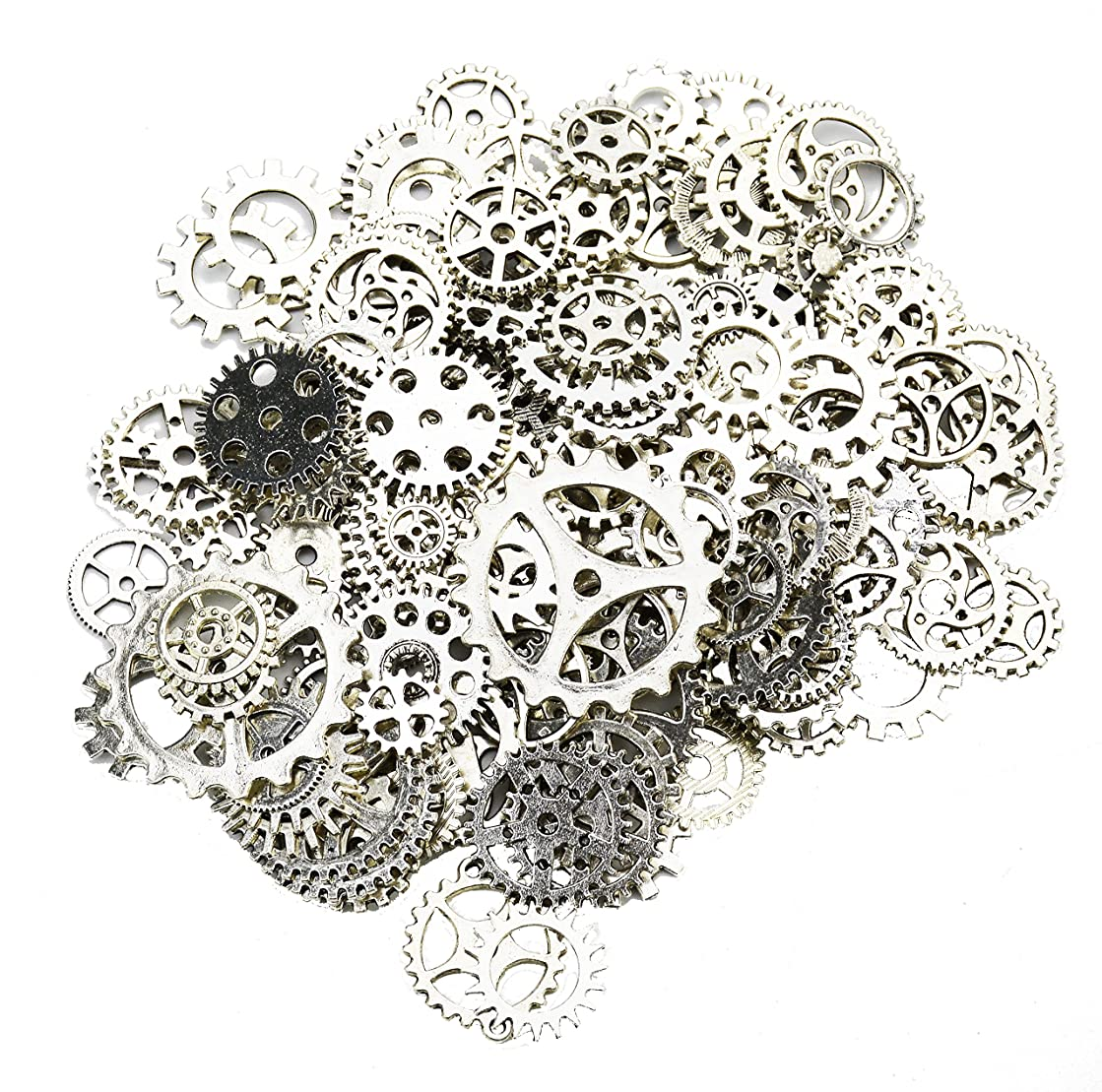Aokbean 150 Gram Assorted Vintage Silver Metal Steampunk Jewelry Making Charms Cog Watch Wheel (Antique Silver)