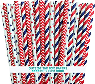 red white and blue straws