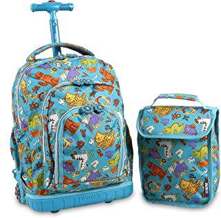 J World New York Boys' Lollipop Rolling Lunch Bag Kid's Backpack with Self-Magnetic Sparkling Wheel and'FREE'Lunch