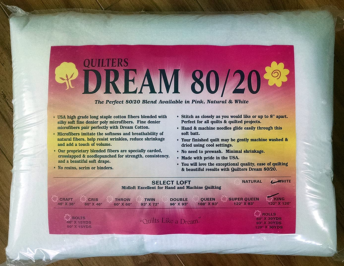 Quilter's Dream 80/20, White, Select Loft Batting - King Size 122