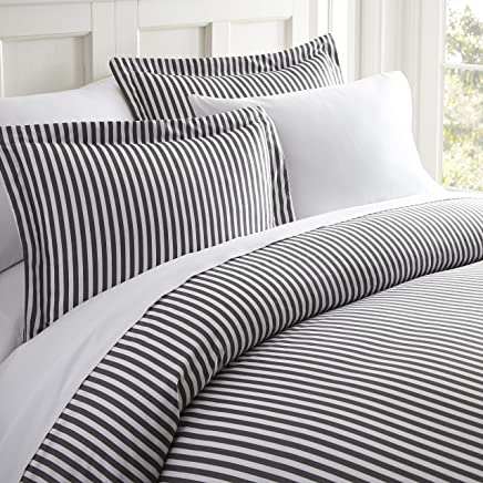 ienjoy Home 3 Piece Ribbon Patterned Home Collection Premium Ultra Soft Duvet Cover Set,  King,  Gray