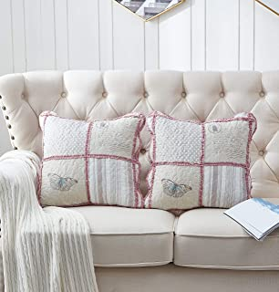 Brilliant Sunshine Patchwork Ruffle Pillow Cushion Covers Butterfly Floral Vintage Print Quilted Scroll Embroidery Layers with Soft Filling Cases 18 x18 inch, Pink/Grey