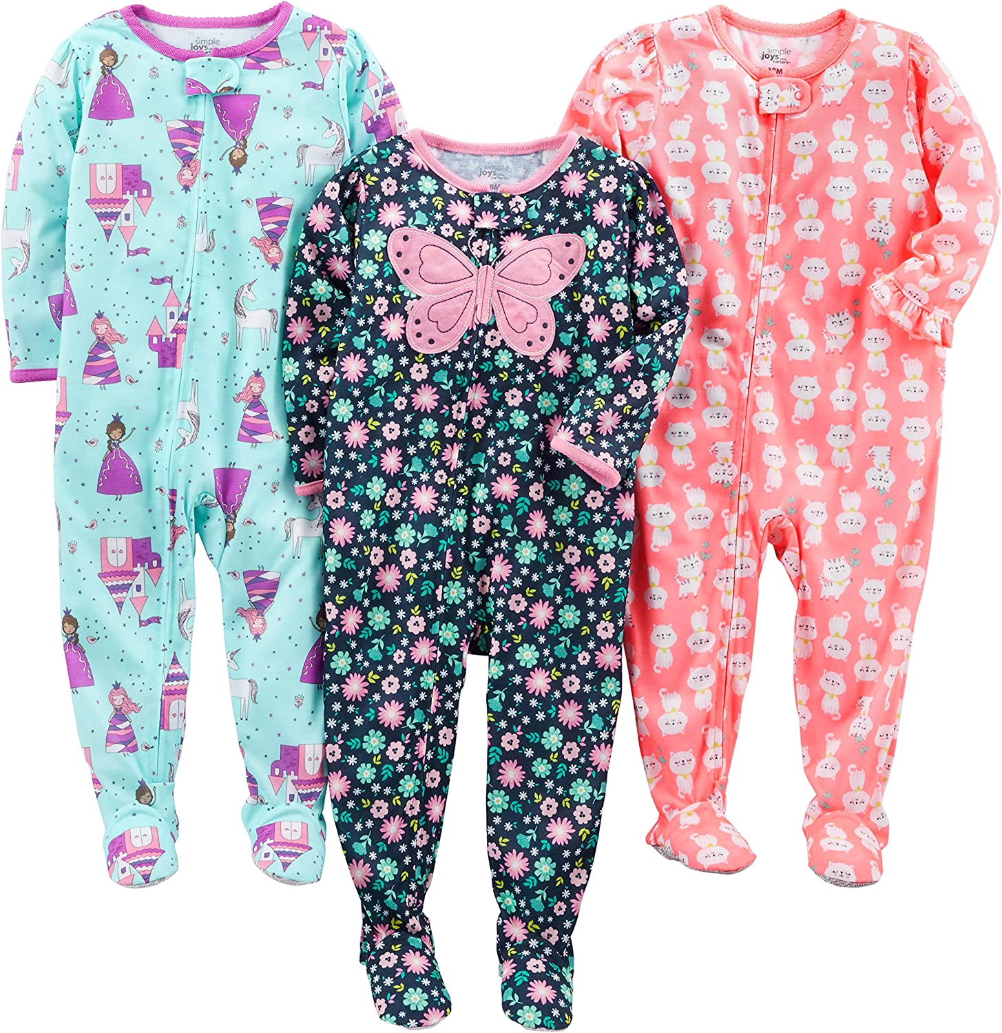 Simple Joys by Carter's Baby and Toddler Girls' 3-Pack Loose Fit Polyester Jersey Footed Pajamas : Clothing, Shoes & Jewelry