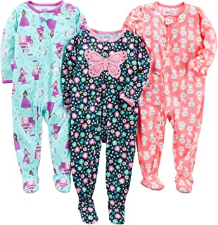Baby and Toddler Girls' 3-Pack Loose Fit Polyester Jersey Footed Pajamas