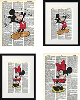 Signature Studios Walt Disney Mickey Mouse and Minnie Mouse photo's Set of (2) Dictionary Art Prints 8x10