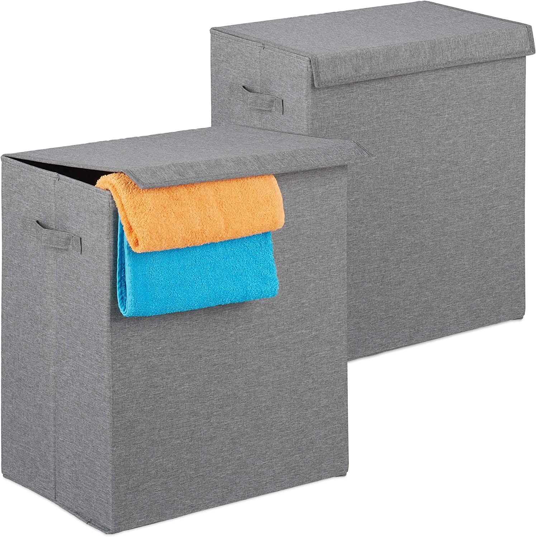 Faltbare W/äschesammler mit Deckel 50,5 x 45 x 30,5 cm tragbar Relaxdays W/äschekorb 2er Set W/äschetruhe 61 L grau