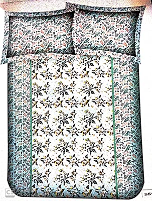 Bella Casa 220 Tc Cotton Summer Story Double Bedsheet with 2 Pillow Covers - Multicolor