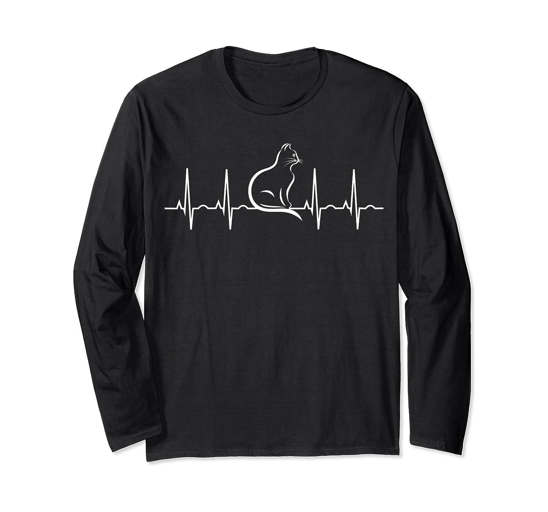 Cat Heartbeat Shirt - Cat Lover Shirt - Ekg Kitty T-shirt Long Sleeve T-shirt