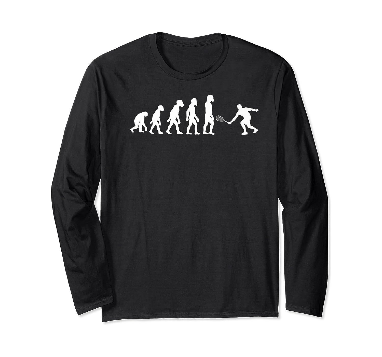 Funny Human Squash Player Evolution Ball Racket Tennis Premium T-shirt Long Sleeve T-shirt
