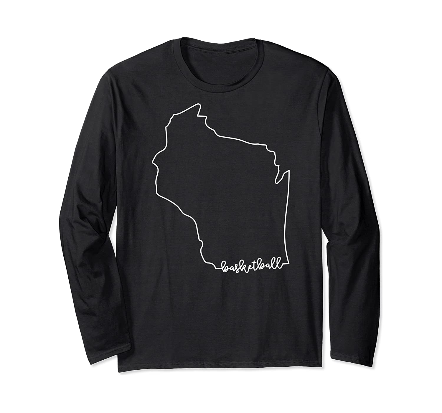State Of Wisconsin Outline With Basketball Script Acj299b T-shirt Long Sleeve T-shirt