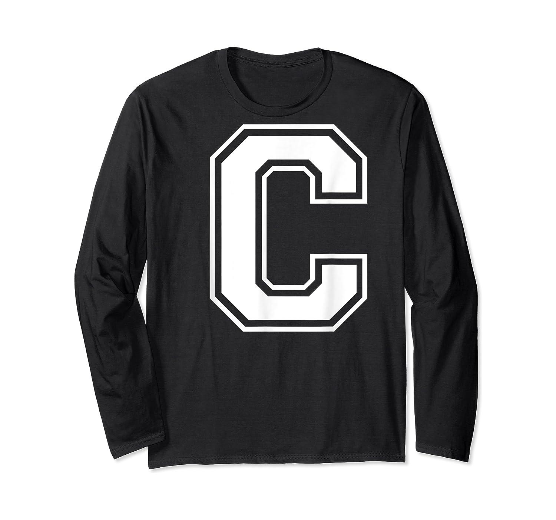 Letter C Capital Alphabet College Varsity Monogram Club T-shirt Long Sleeve T-shirt