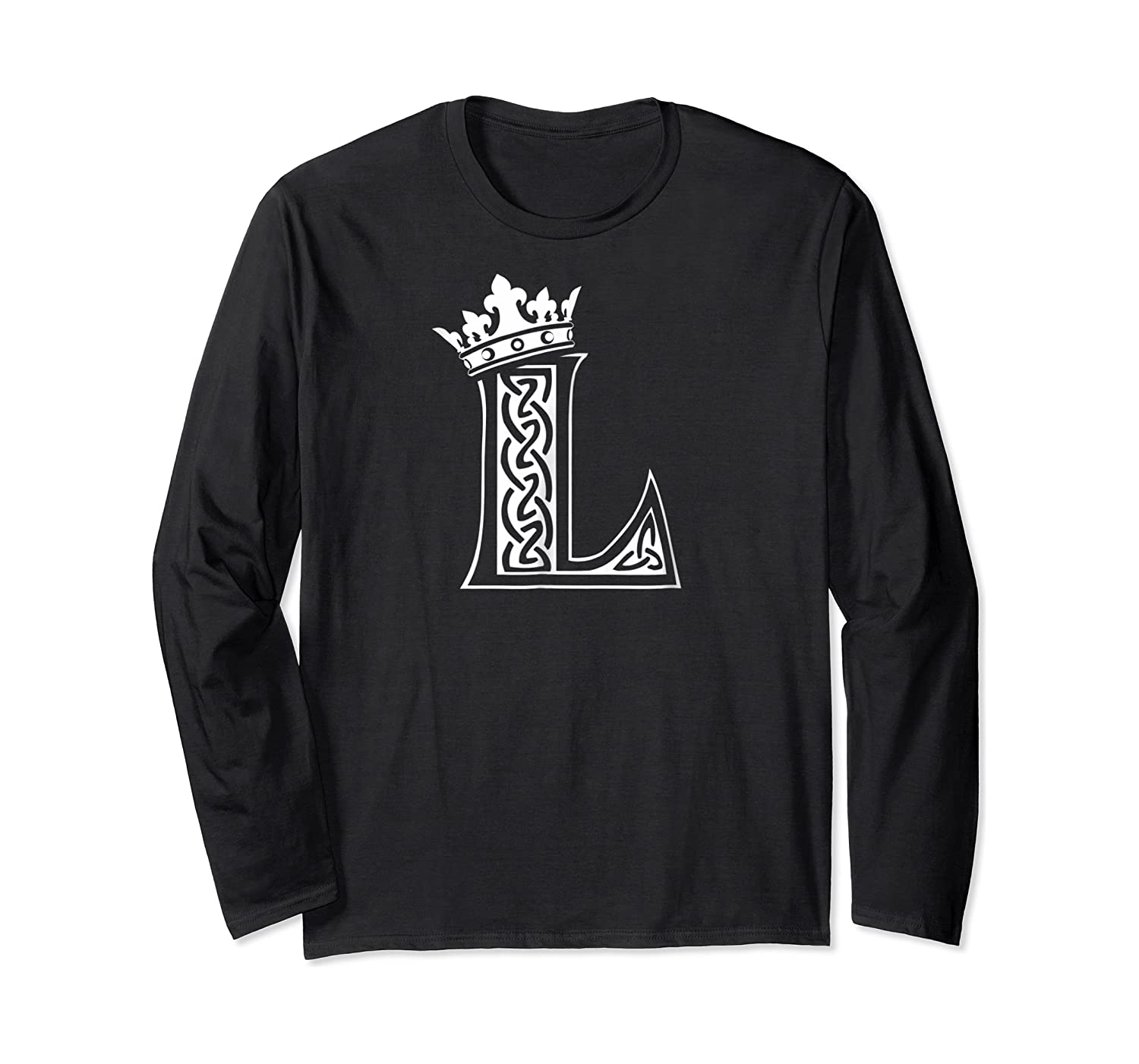 Alphabet Initial Letter L And King Queen Crown Shirts Long Sleeve T-shirt