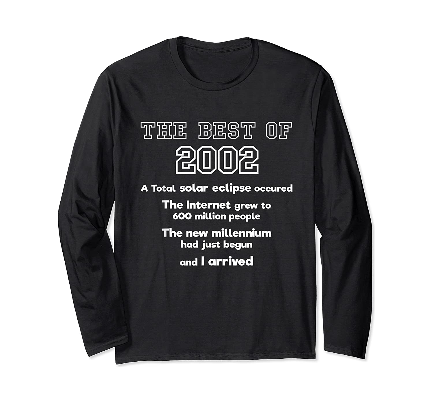 2002 18th Birthday Gift For 18 Year Old Girls Shirts Long Sleeve T-shirt