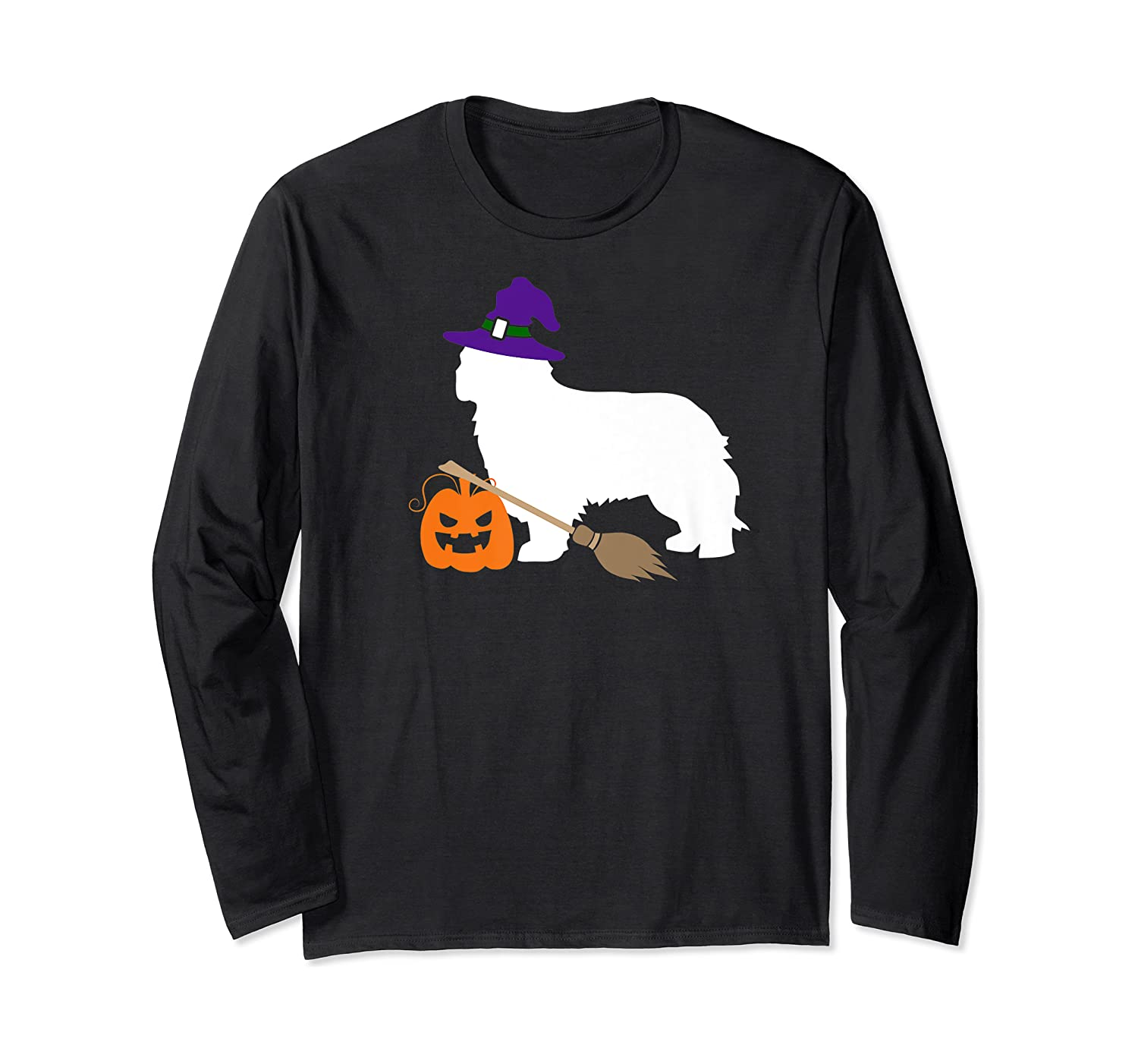 Cavalier King Charles Witch Hat Halloween Dog Costume Shirts Long Sleeve T-shirt