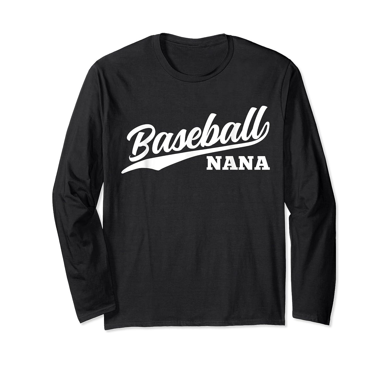 Baseball Nana 1970s Retro Cursive Font Dark Shirts Long Sleeve T-shirt
