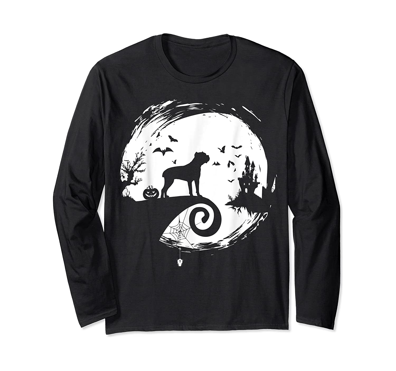 Cane Corso Halloween Costume Moon Silhouette Creepy T-shirt Long Sleeve T-shirt