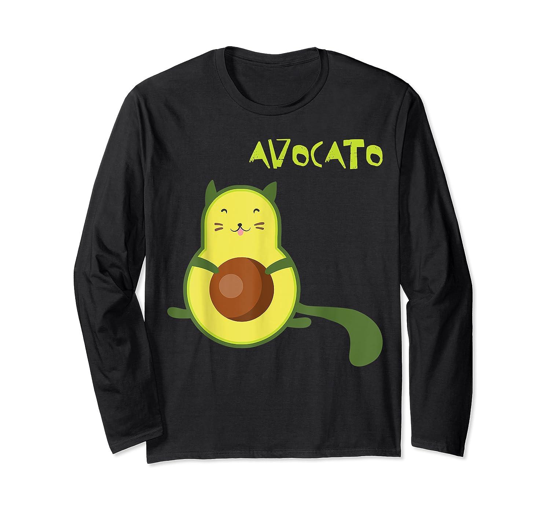 Avocato Funny Cute Cat Gift For Vegan Shirts Long Sleeve T-shirt