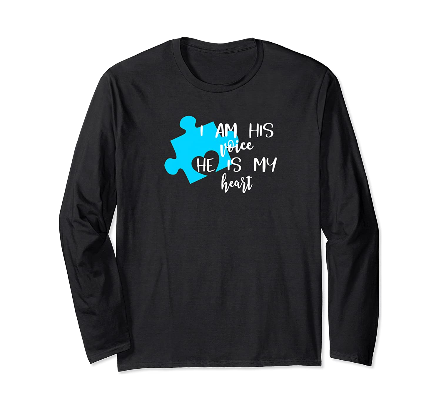Autism Awareness Shirt I Am His Voice He Is My Heart Puzzle Long Sleeve T-shirt