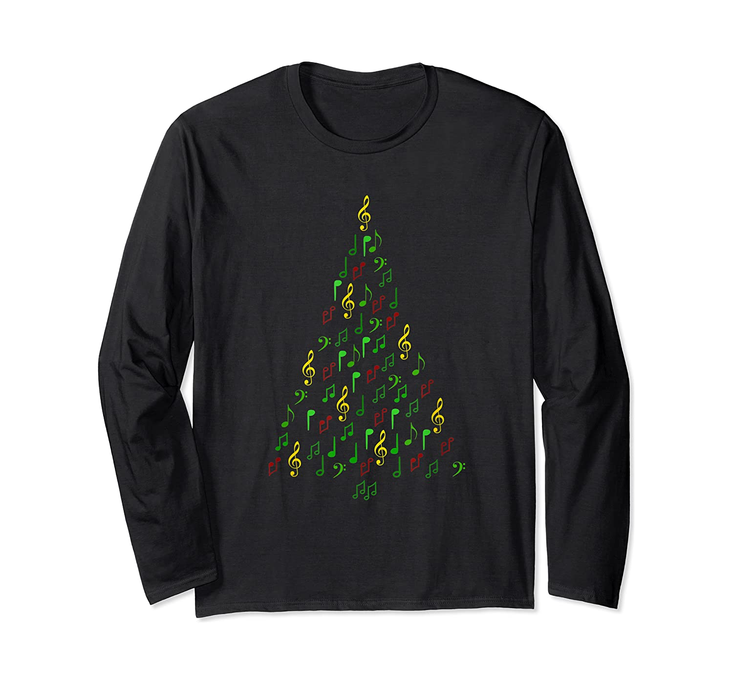Music Christmas Tree With Notes And Clefs For Musicians Shirts Long Sleeve T-shirt