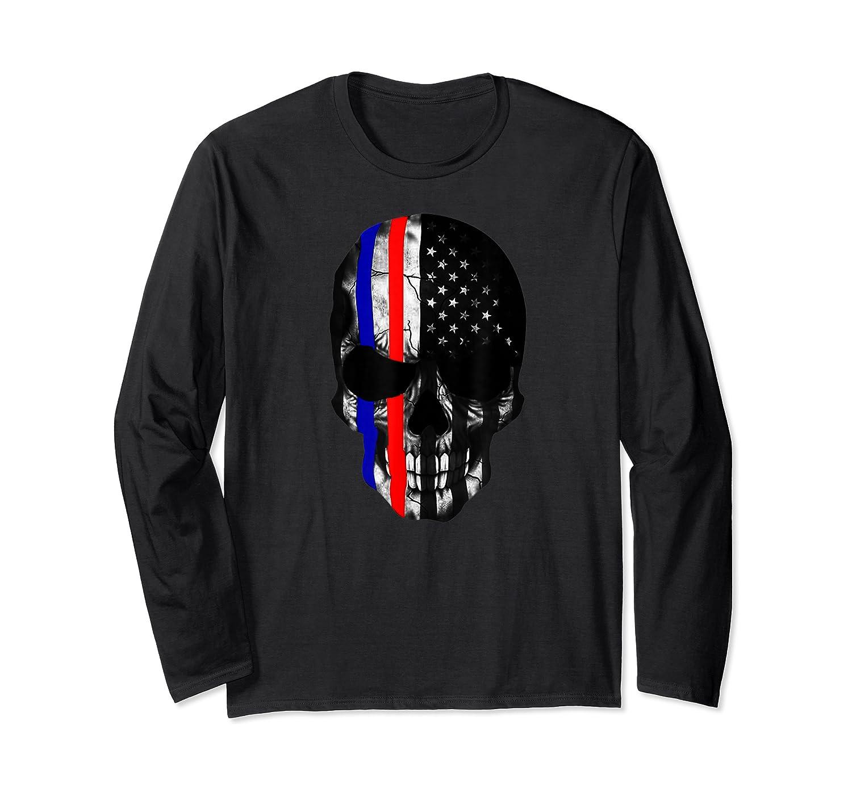 Patriot Skull Usa Flag Halloween Hunter Us Skeleton Head T-shirt Long Sleeve T-shirt