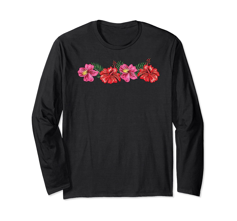 Hawaiian Hibiscus Flowers Aloha Vacation Shirts Long Sleeve T-shirt