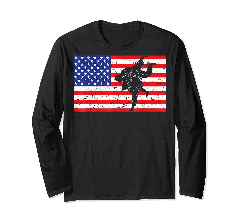 Distressed Judo Gi Usa American Flag Vintage Martial Arts T-shirt Long Sleeve T-shirt