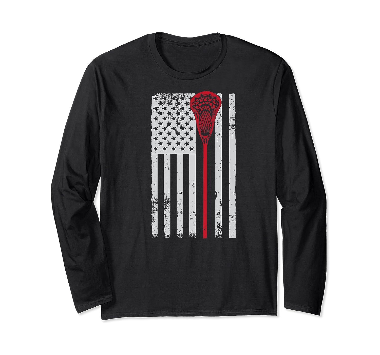 Lacrosse American Flag Patriotic Athletic Sport Shirts Long Sleeve T-shirt