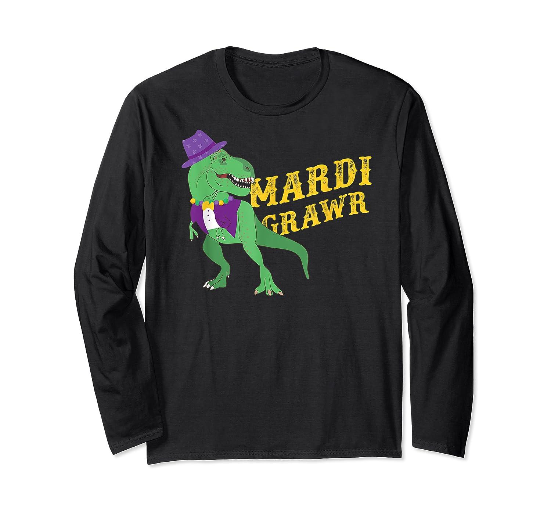 Mardi Grawr T Rex Dinosaur Mardi Gras Bead T Shirt T-shirt Long Sleeve T-shirt