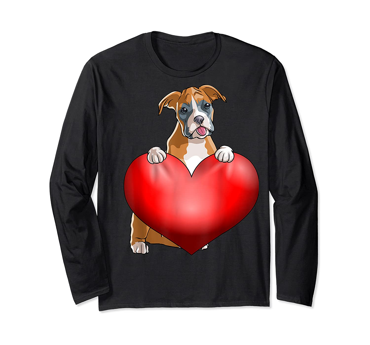 Valentines Day Dog Boxer Heart Gift Girl Shirts Long Sleeve T-shirt