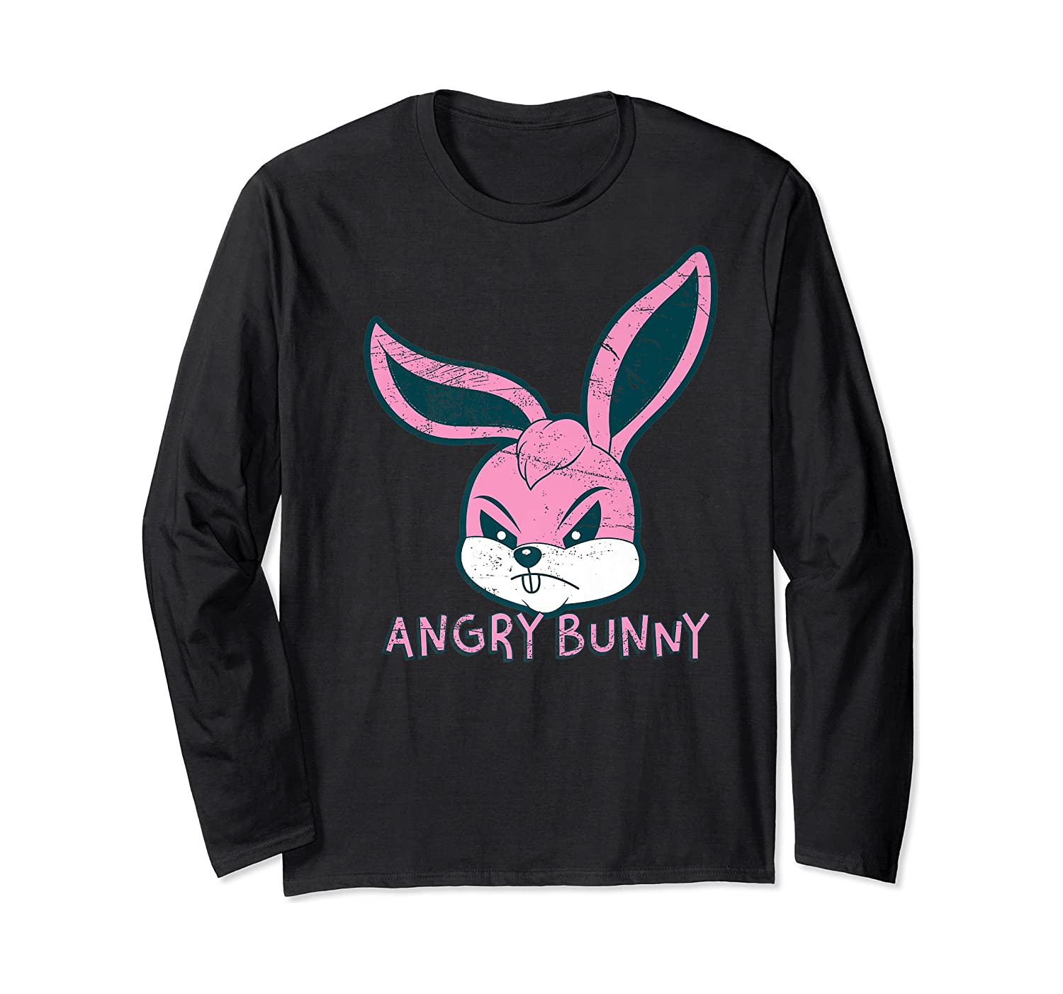 Angry Bunny Rabbit Lovers Cute Bunnies Happy Easter Day Gift Shirts Long Sleeve T-shirt