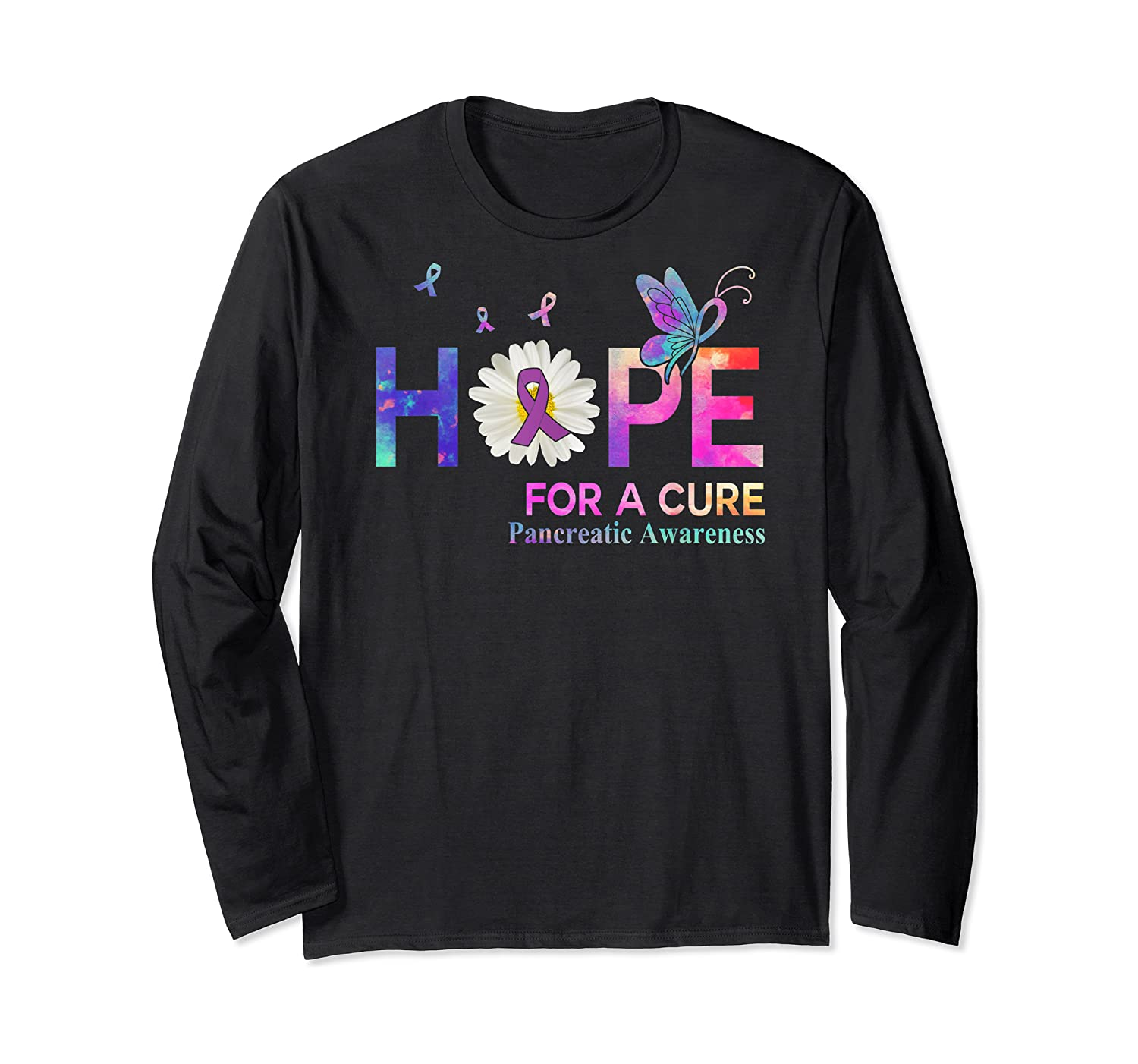 Hope For A Cure Pancreatic Cancer Butterfly Flower Shirts Long Sleeve T-shirt