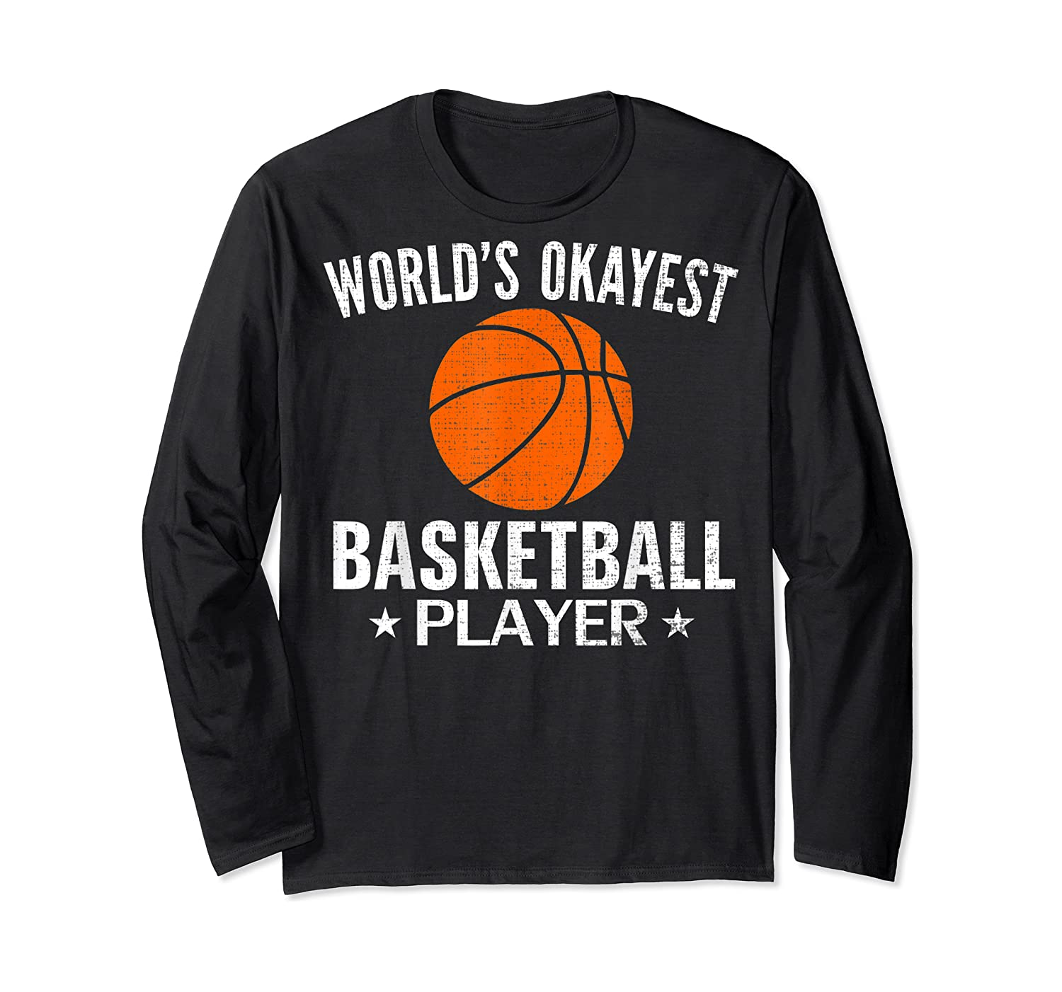 Vintage World's Okayest Basketball Player Funny Sports Gift Shirts Long Sleeve T-shirt