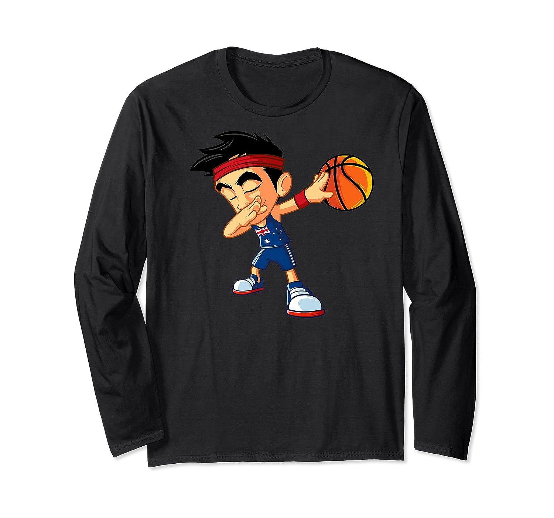 Dabbing Basketball Boy Player Australia Flag Funny Dab Dance Premium T-shirt Long Sleeve T-shirt