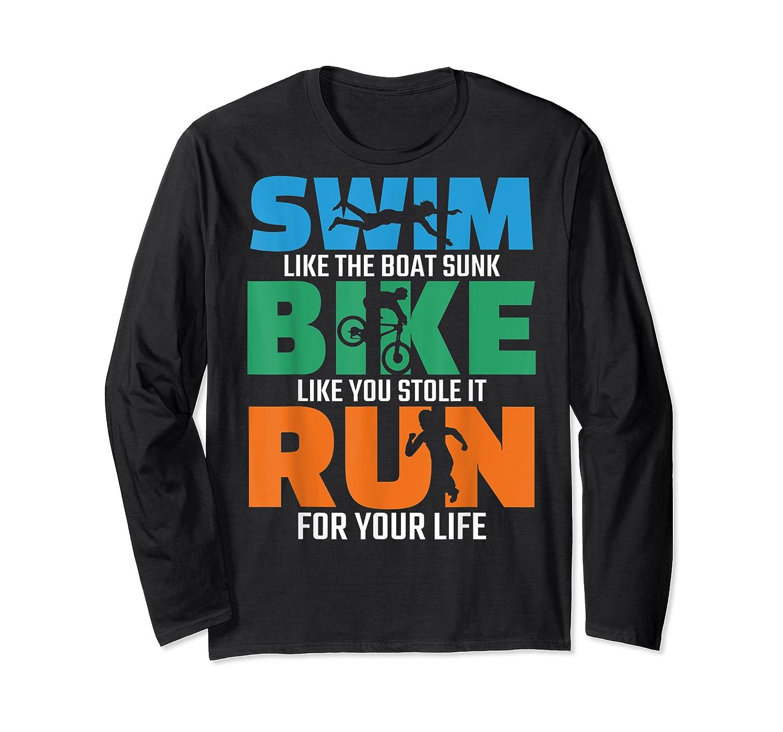 Swim Bike Run Triathlon Running Cycling Swimming Shirts Long Sleeve T-shirt