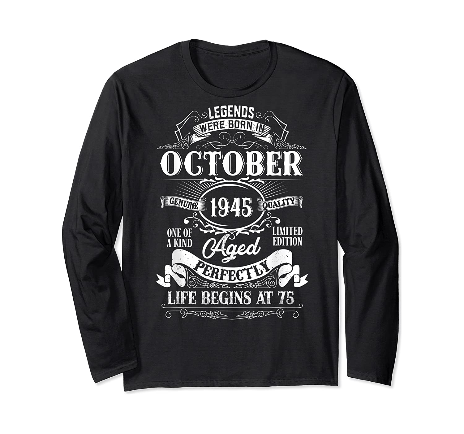 Vintage October 1945 75th Birthday Gifts For 75 Years Old Shirts Long Sleeve T-shirt