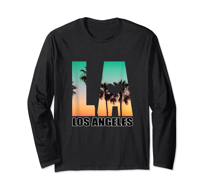 Los Angeles Design La Palm Tree Sunset Boulevard T-shirt Long Sleeve T-shirt