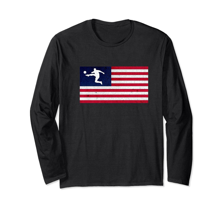 Soccer Us Flag American Football Gift Shirts Long Sleeve T-shirt