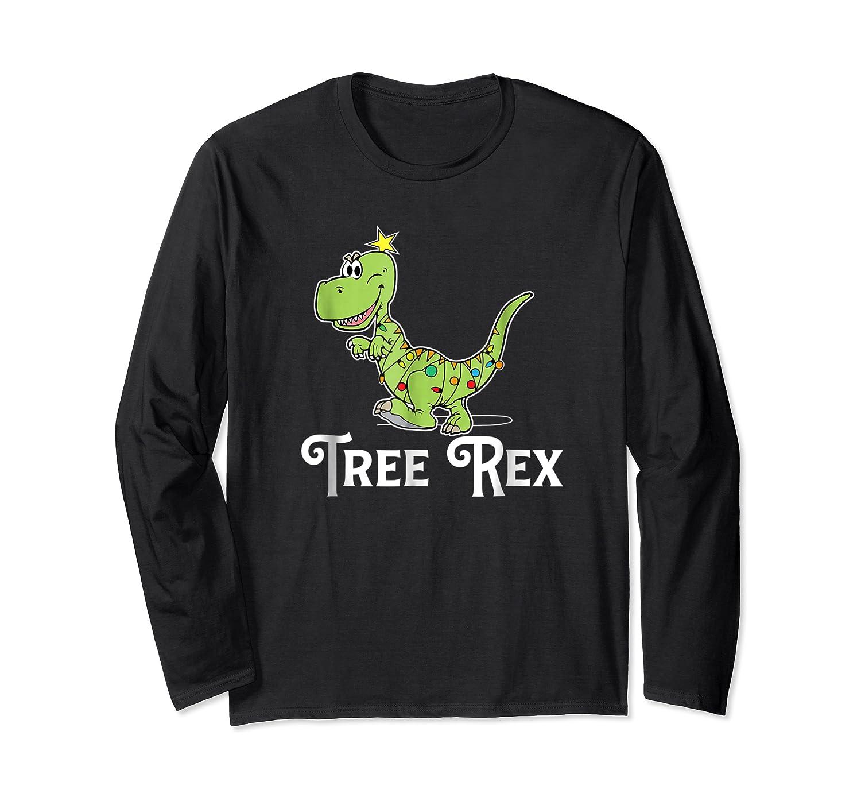 Tree Rex Funny Dino Christmas Lights Shirts Long Sleeve T-shirt