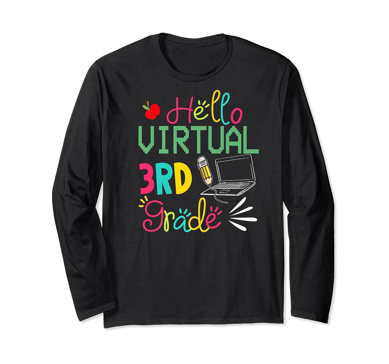 Funny Hello Virtual 3rd Grade Gift Back To School 2020 Shirts Long Sleeve T-shirt