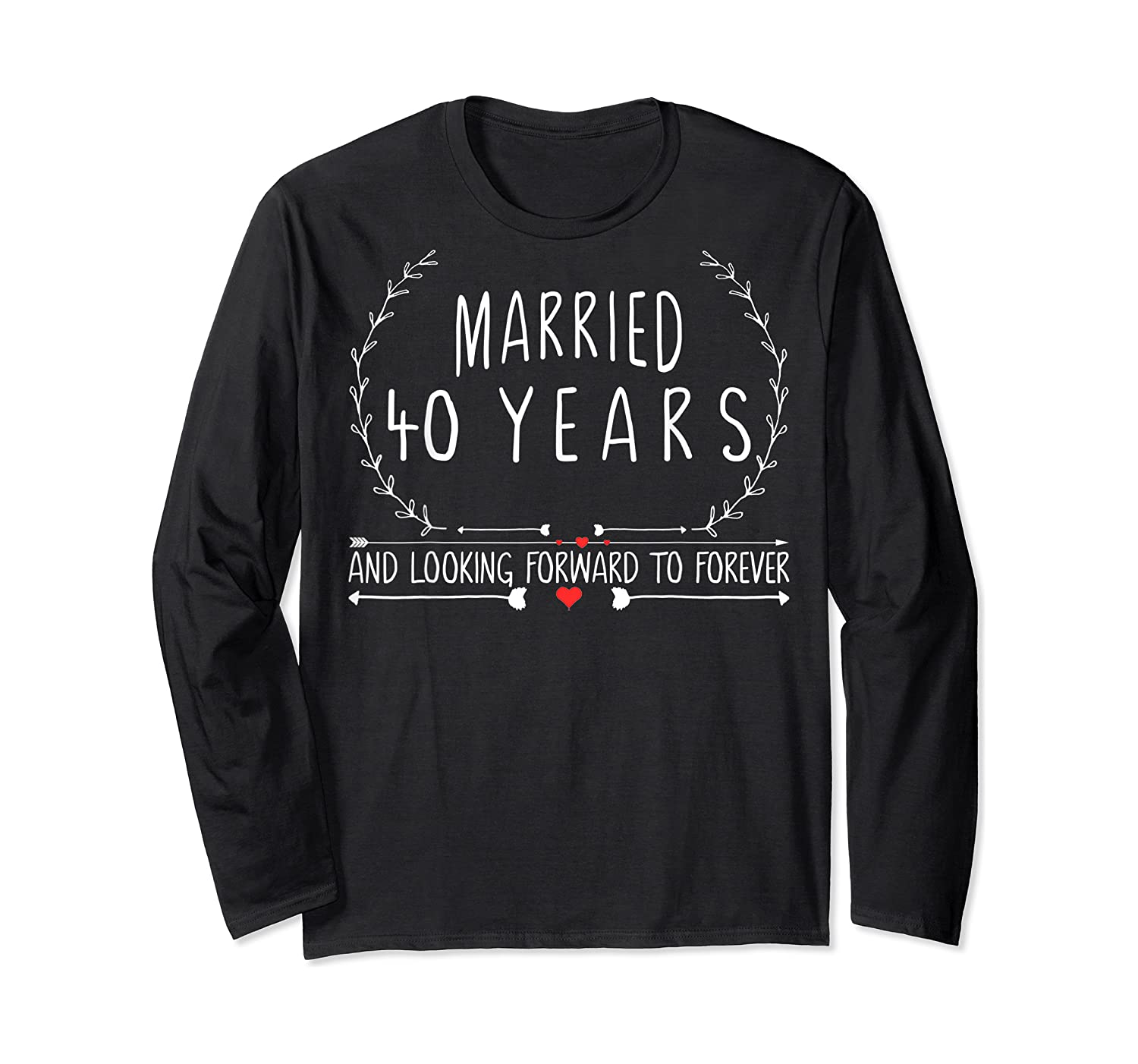 Wedding Anniversary 40th Gifts For Her Him Couples Shirts Long Sleeve T-shirt