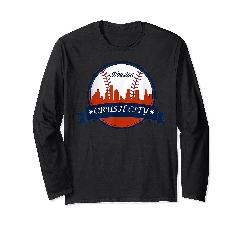 Vintage Retro Houston City Skyline Baseball Tshirt Long Sleeve T-shirt
