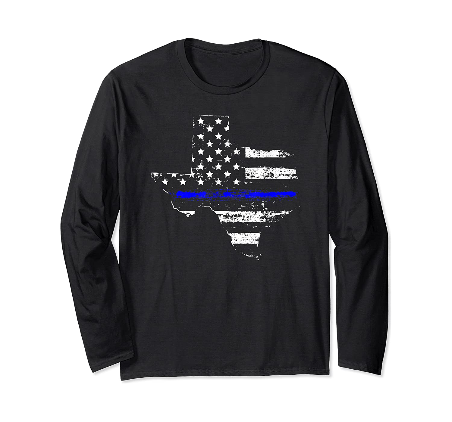 Texas Back The Blue Support Thin Blue Line Shirts Long Sleeve T-shirt