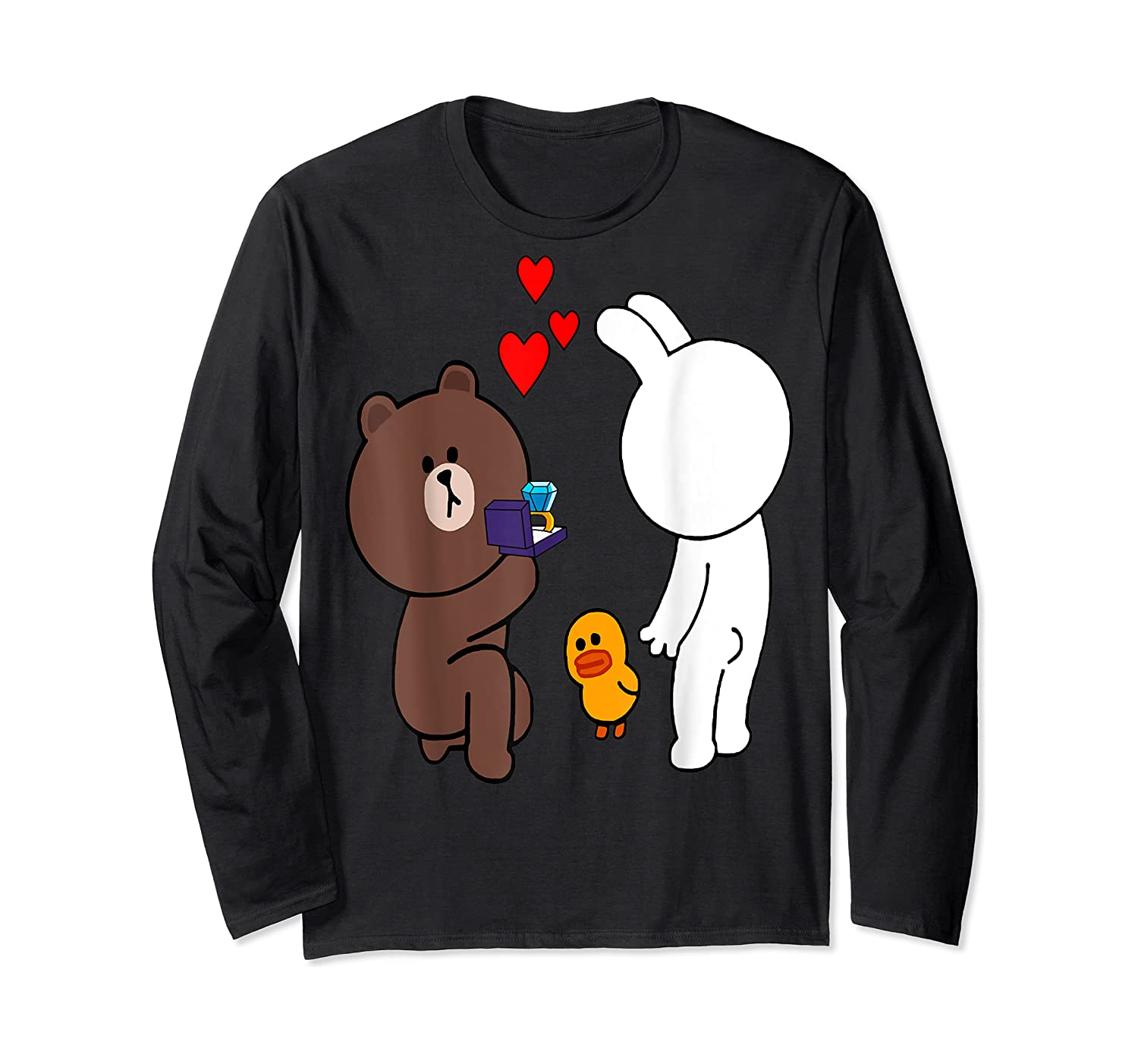 Brown Bear Cony Bunny Rabbit Engaget Ring Marriage Fiance Shirts Long Sleeve T-shirt