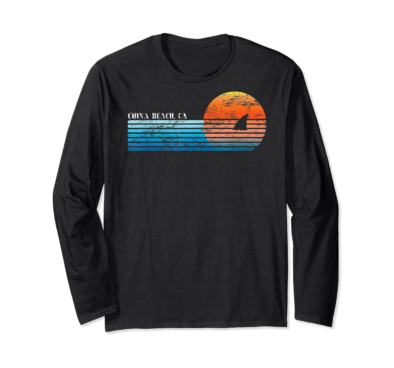 Vintage China Beach, Ca Retro 80s Shark Fin Sunset Shirts Long Sleeve T-shirt