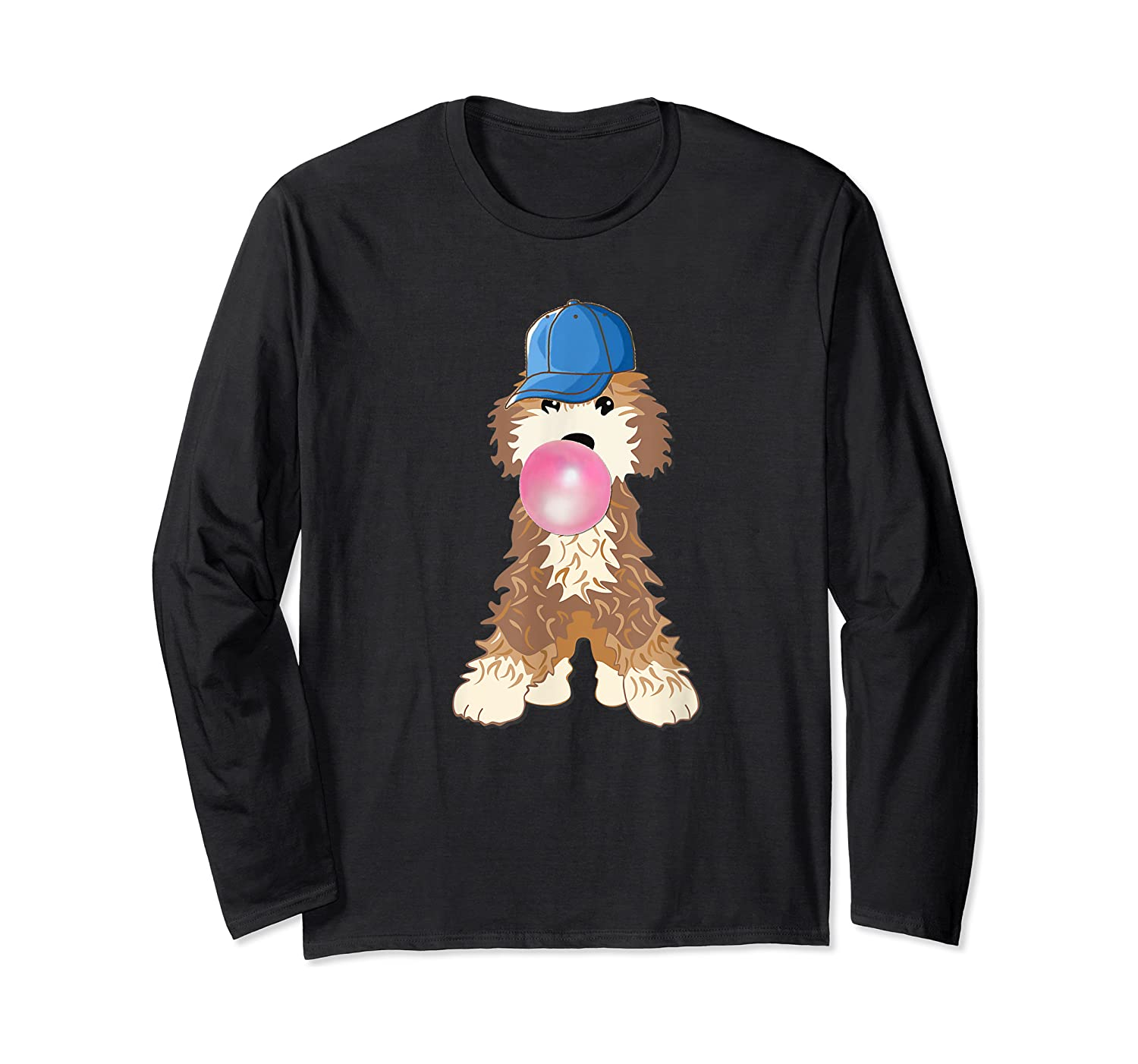 Goldendoodle Labradoodle Blowing Pink Gum Shirts Long Sleeve T-shirt