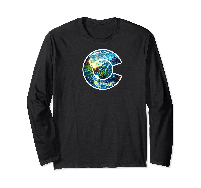 Colorado Mountain C Co Flag Graphic Design By Mcma Premium T-shirt Long Sleeve T-shirt