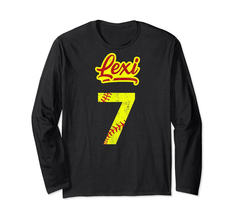 Lexi Softball No #7 Number 7 Girl Cat & Pit T-shirt Long Sleeve T-shirt