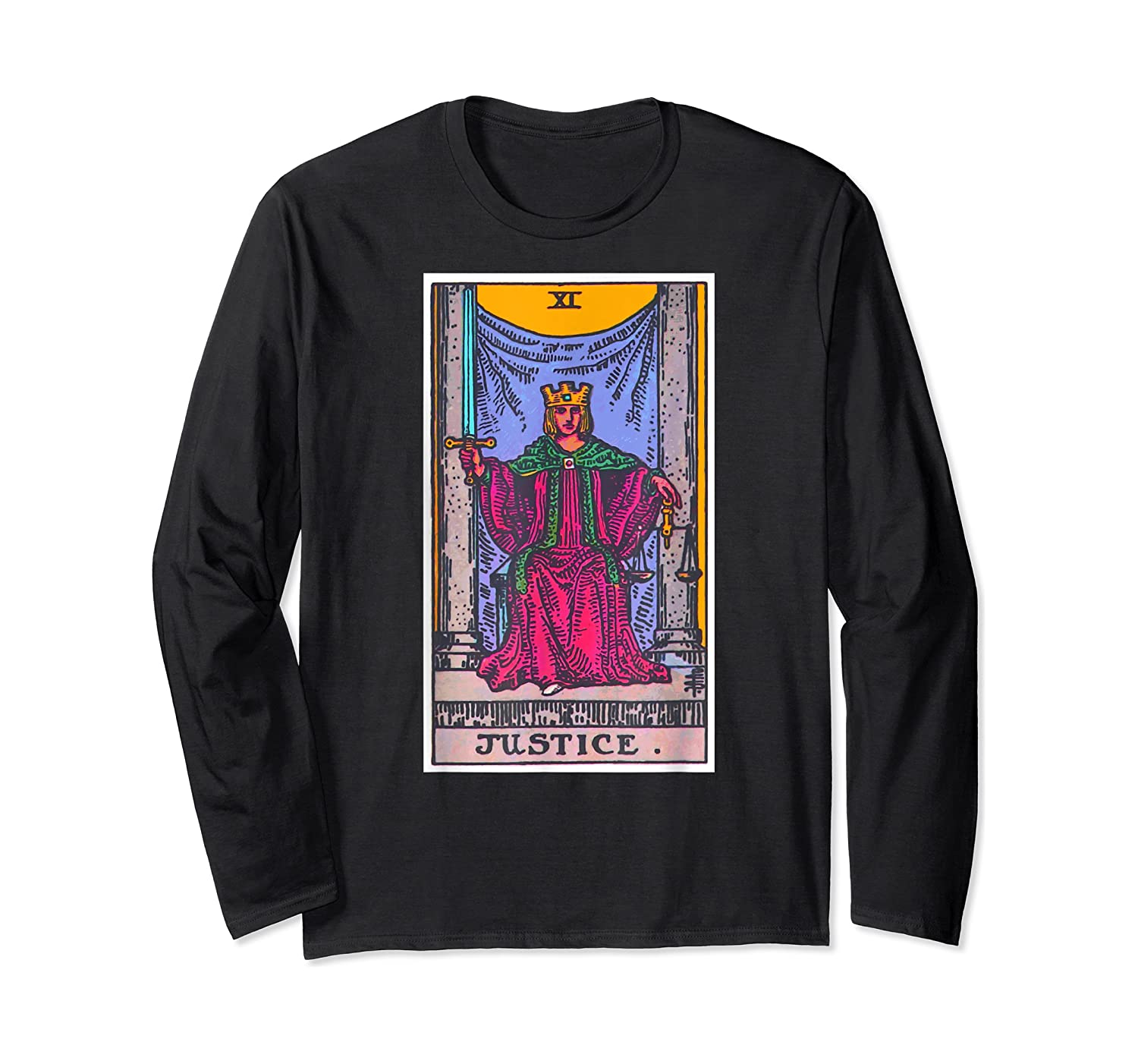 Justice Tarot Card Psychic Occult Metaphysical Shirts Long Sleeve T-shirt