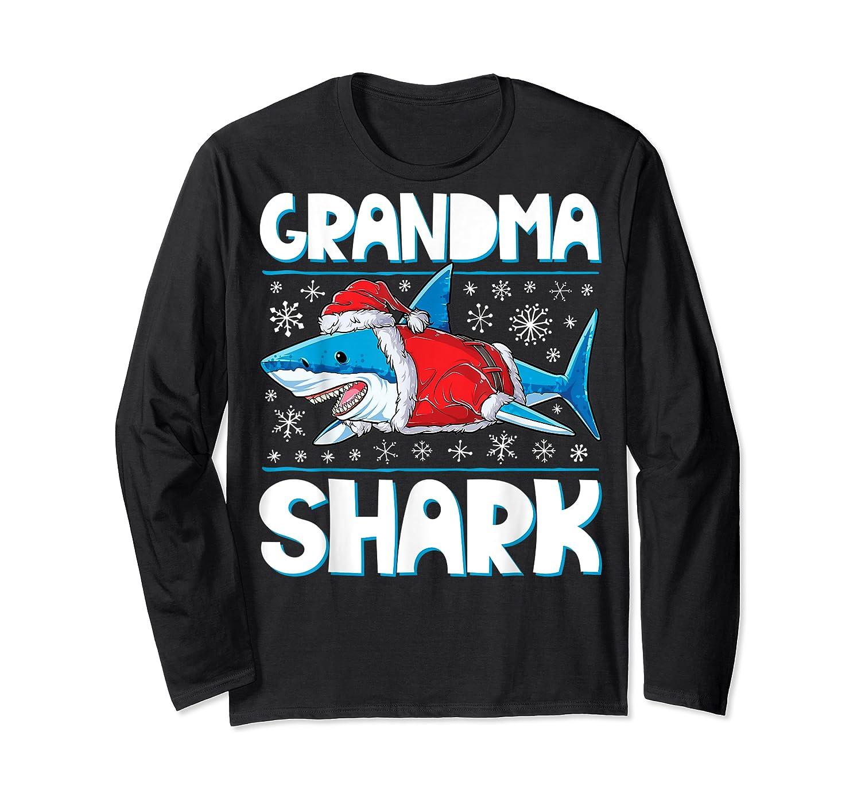 Grandma Shark Santa Christmas Family Matching S Shirts Long Sleeve T-shirt